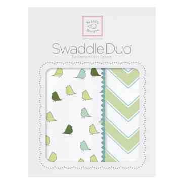 Swaddle Designs Swaddle Duo Blanket Chic Green Chevron (Isi 2)