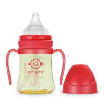 GROSMIMI PPSU Feeding Bottle 200ml Red (With Handle)