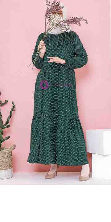 Anum Home Dress Forest Green Lil Polka