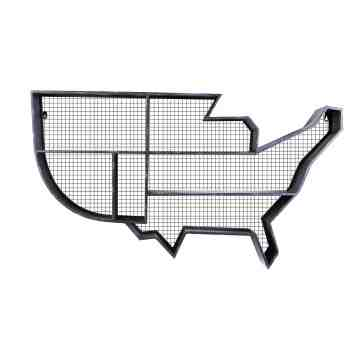 Lumikasa Distressed Black Metal Map of America Wall Organizer