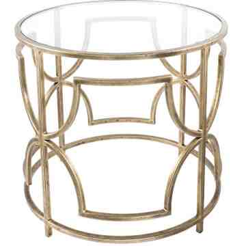 Lumikasa Catherine Antique Brass Metal and Glass Side Table