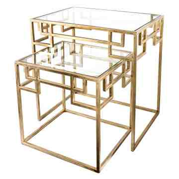 Lumikasa Elizabeth Antique Brass Metal and Glass Nested Side Table