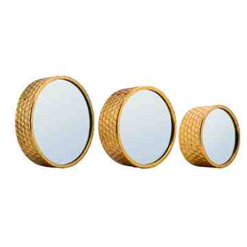 3D Metal Round Wall Mirror, Set of 3