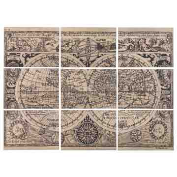 Wood Vintage World Map, Set of 9