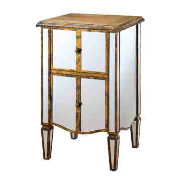 Lumikasa Wood and Antique Glass Mirrored Side Table