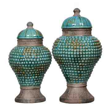 Lumikasa Distressed Blue Terra Cotta Jar with Lid Small