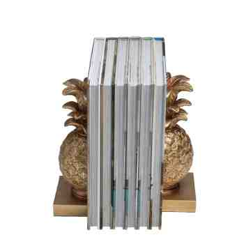 Lumikasa Resin Pineapple Bookends, Distressed Gold Finish, Set of 2