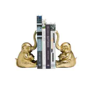 Lumikasa Bookends Resin Gold Elephant