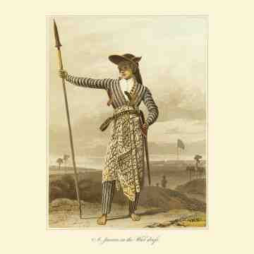 East Indies Art A Javan in the War Dress (Raffles)