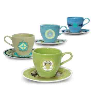 Jakarta Vintage Tea Cup and Saucer, Set of 4