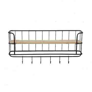 Lumikasa Fir and Metal Wall Shelf with 6 Hooks