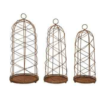 Lumikasa Wire Cloche's with Metal Base, Set of 3