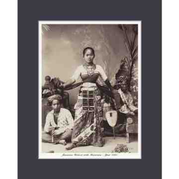 Old East Indies Indonesian Dancer and Musicians 1880 Cardboard Frame