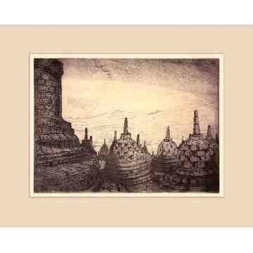 Old East Indies Borobudur Temple Java 3  Cardboard Frame