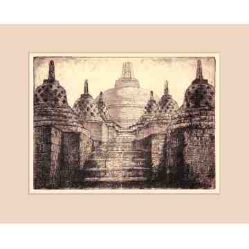 Old East Indies Borobudur Temple Java 1  Cardboard Frame