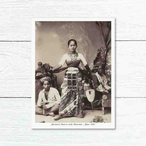 Old East Indies Greeting Card Indonesian Dancer and Musicians 1880