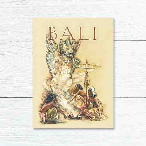 Old East Indies Greeting Card Bali Girl 3 Patung