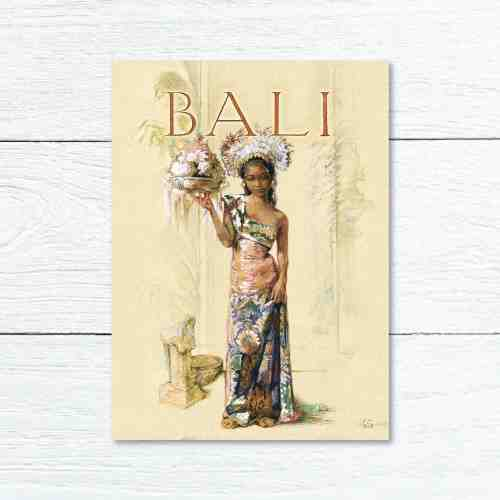 Old East Indies Greeting Card Bali Girl 1
