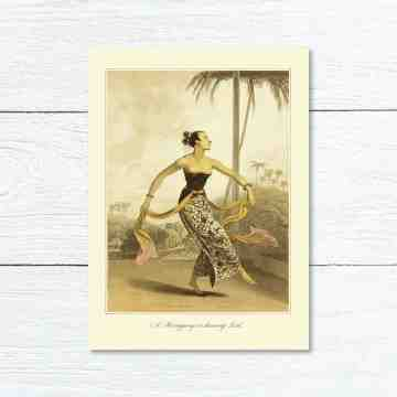 Old East Indies Greeting Card A Ronggeng or dancing Girl