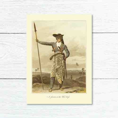 Old East Indies Greeting Card A Javan in the War dress