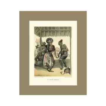 Old East Indies Topeng Dancers on Java - 1873 Cardboard Frame