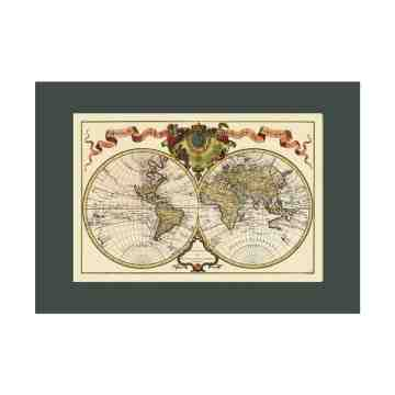 Old East Indies World Map With Explorers Routes - Year 1724 Cardboard Frame