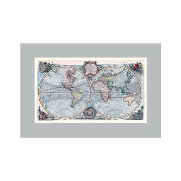 Old East Indies World Map In English - Year 1744 Cardboard Frame