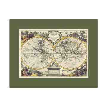 Old East Indies French World map - Year 1713 Cardboard Frame