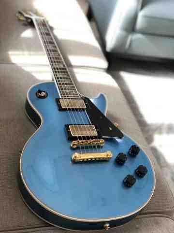 Tokai Love Rock Custom Shop LC-136S AB in Blue Sparkle with Abalone Block inlay