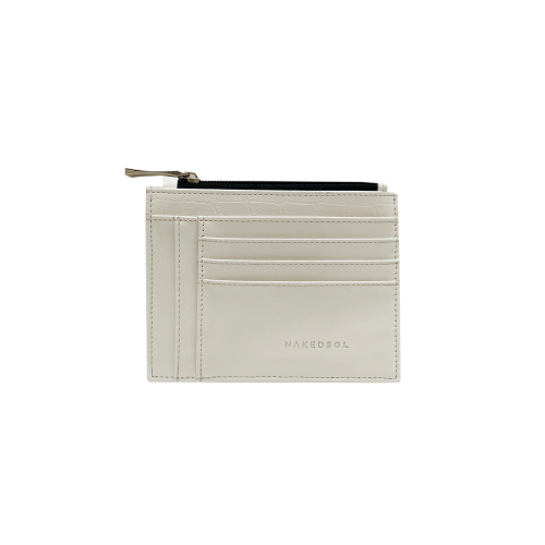 Mini Card Wallet Croco White