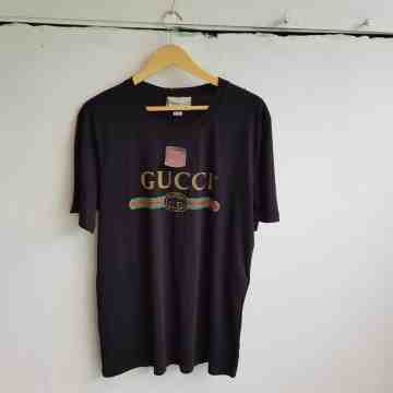 Gucci Distressed Belt Logo Tee Black