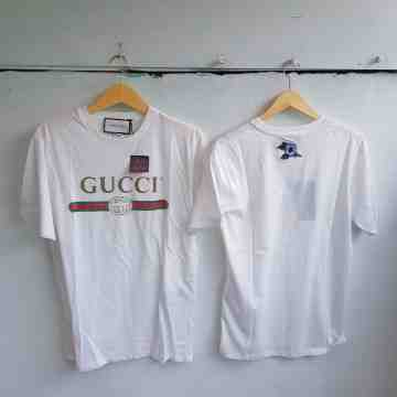 Gucci Distressed Belt Logo Tee White