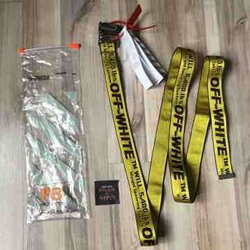 Off White Industrial Belt Yellow Buckle Silver