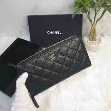 Chanel Caviar Leather CC Zip Around Wallet