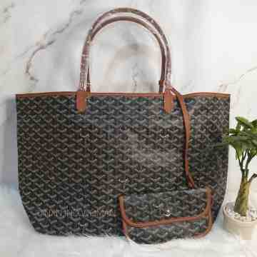 Goyard St Louis GM Black and Brown Canvas Tote