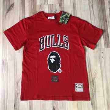 Bape x Mitchell & Ness Bulls Red Tee