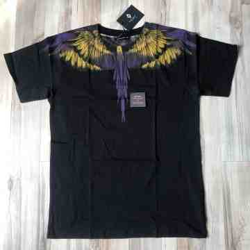 Marcelo Burlon Yellow Purple Wing Black Tee