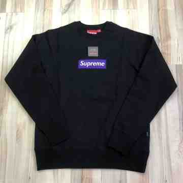 Supreme Purple on Black Box Logo Crewneck (Year 2005)