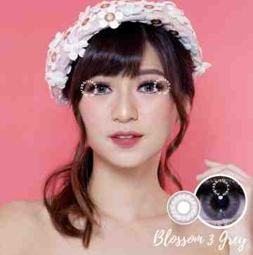 Kitty Kawaii Blossom 3 Grey Softlens