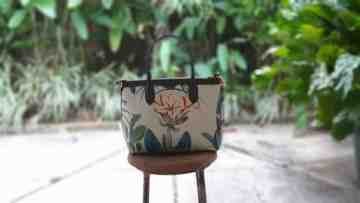Premium Hand Bag Forest Orchid Flower  Cream image