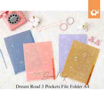 Dream Road 3 Pockets File Folder UKURAN A4 / Map Dokumen Plastik Lucu Unik Murah image