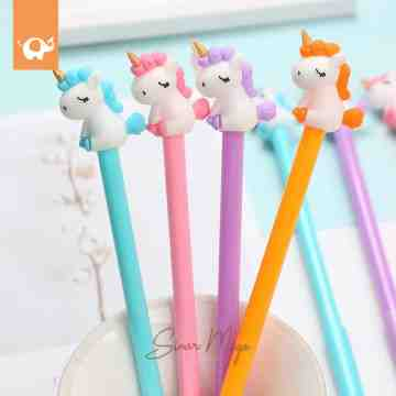 Fancy Gel Pen Kuda Poni Tanduk Emas image