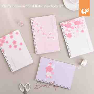 Cherry Blossom Spiral Ruled Notebook A5 image