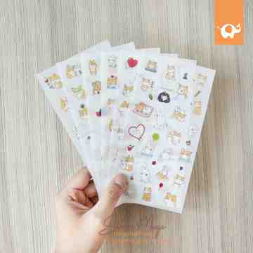 Puppy And Rabbit Diary Deco Stickers image