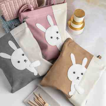 UCHII USAGI Tote Bag Character Bunny Leather Velvet Zipper | Tas Bahu image
