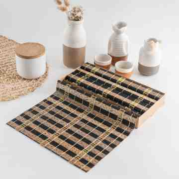 UCHII Wooden Placemat Natural Abstract Golden Box Paket Tatakan Alas Piring Makan image