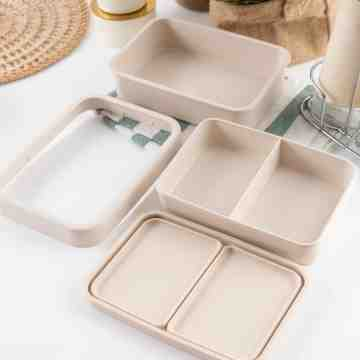 UCHII Bamboo Fiber Double Deck Lunch Box | Kotak Bekal Susun Partisi image