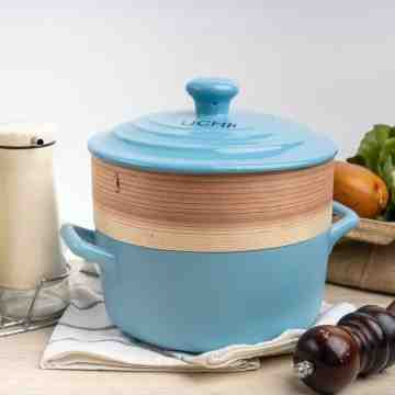 UCHII Premium 3in1 Cooking Soup Pot Ceramic w/ Bamboo Food Steamer 2L image