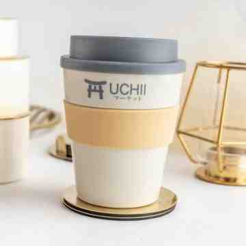 UCHII Travel Coffee Cup Hot Cold Handle Lid Gelas Mug Kopi Black Grey image