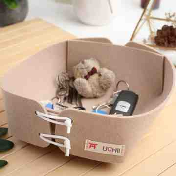 UCHII Felt Mini Basket Box Organizer Key Holder Portable Kotak Lipat image